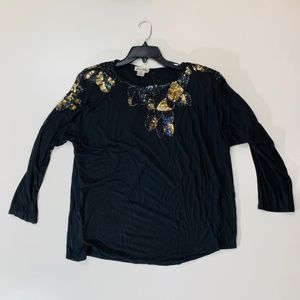 Jane Ashley Sequin Top Bat wing Sleeves Small